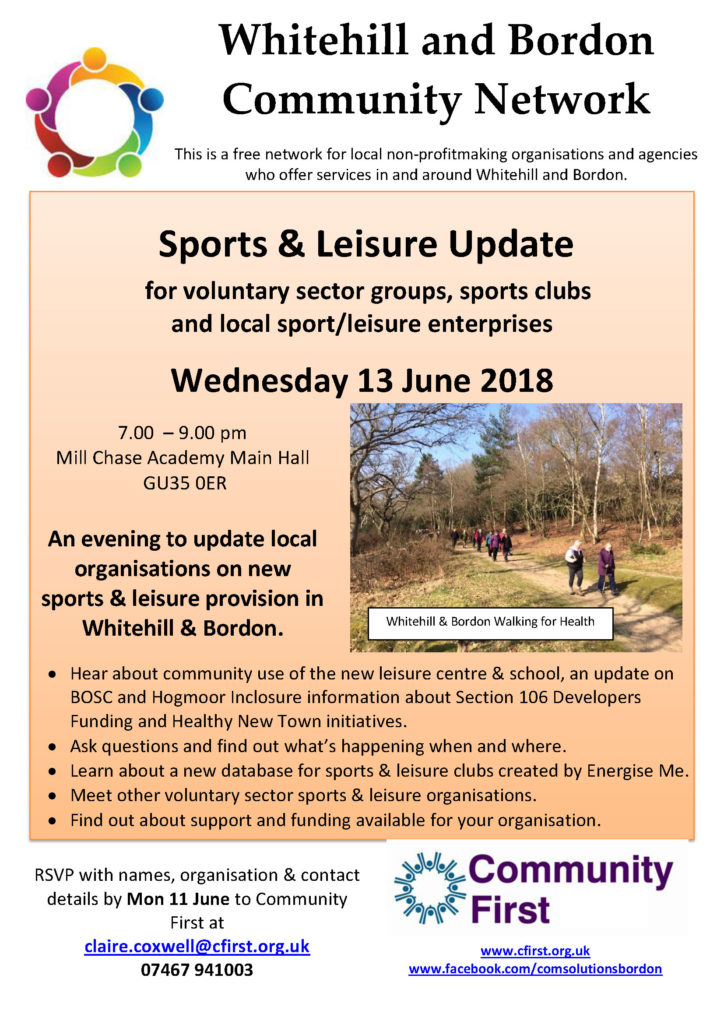 Sports and Leisure Update Whitehill & Bordon 13 June 2018